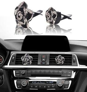 Bling Bling Car Accessories Interior Decoration For Girls Women Black Flowers Ebay