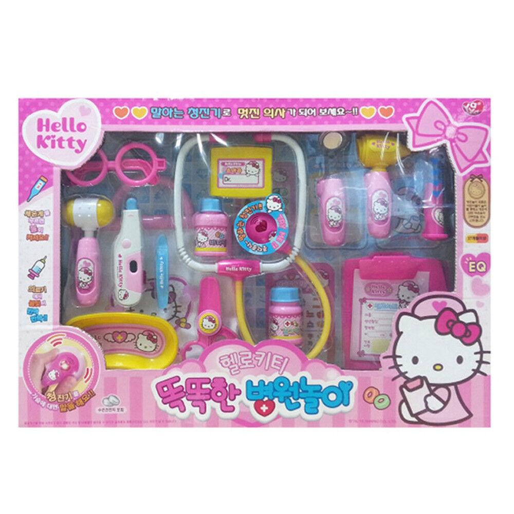 Hello Kitty Hospital Play Set Talking Stethoscope Light Medical Toy Cute Bag new