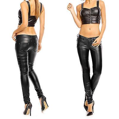 Damen Hose Kunstlederhose Jeans Röhrenhose schwarz Leder-Optik Lederimitat 211