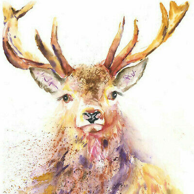HELEN APRIL ROSE Fine Art Print of LISTENING STAG wildlife art watercolour 565