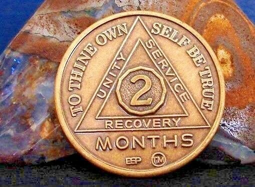 Alcoholics Anonymous Aa 2 Month Bronze Medallion Coin 60 Days Chip Token Sober