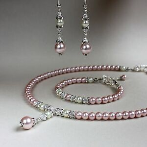 7b0c69c7e4e95 Details about Pink cream pearl crystal collar necklace bracelet earrings  wedding jewellery set