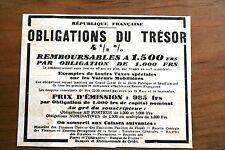 Pub Ad 1932 Publicité ancienne Obligations du Trésor république Francaise