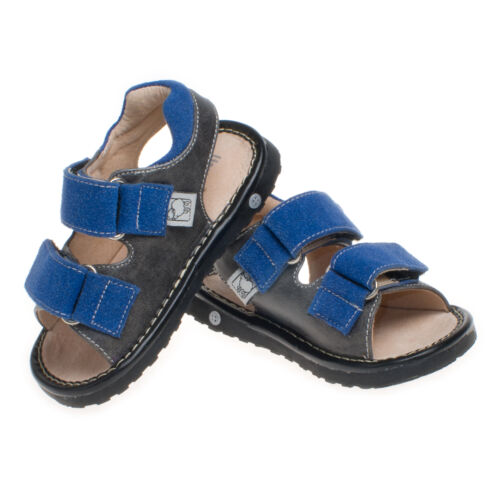 Adjustable! Blue // Grey Boys Infant Toddler Leather Squeaky Shoes Sandals