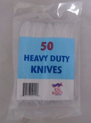100% Waar 50 X Heavy Duty Clear Plastic Cutlery Knives Royal Markets Disposable New