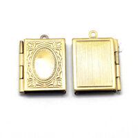 Wholesale Lot 12 Solid Bright Brass Leather Bound Book Locket Medium Pendants