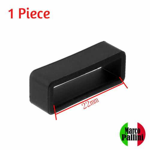 22mm Marco Pallini Black Silicone Strap Retainers Loop Keepers Holder Locker US