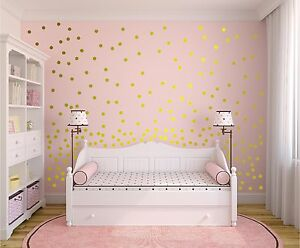 Image is loading Set-of-120-Metallic-Gold-Wall-Decals-Polka- & Set of 120 Metallic Gold Wall Decals Polka Dots Wall Decor ...