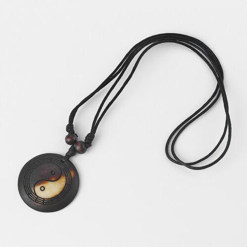 1pcs Yak Bone Taiji Bagua Charms Pendant Surf Necklace Adjustable Ying Yang