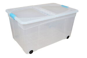 110 Litre Plastic Storage Boxes With Lids Large Clear Box Clip Lid
