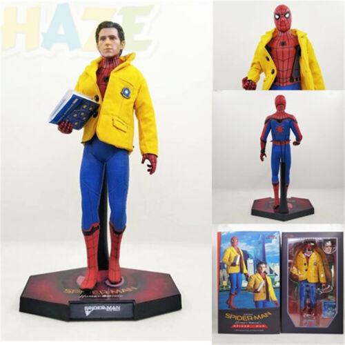 1//6 SCALA Avengers Spider-Man ritorno a casa Figura vero tessuto testa intaglio NUOVO