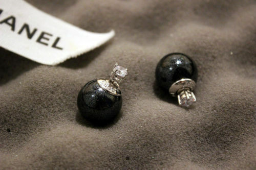 18K Gold Plated Double Side Crystal and Sphere Earrings BLACK
