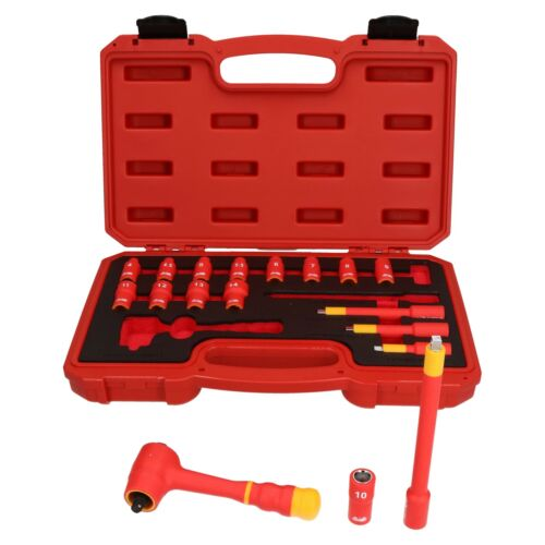 """1//4/"""" Drive Insulated VDE Tool Socket and Accessory Kit 18pc Metric GS Approved"""