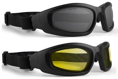Birdz Eyewear Buzzard Motorcycle Goggle Kit Black Frame//Clear, Smoke and Yellow Lens