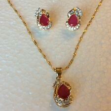 SE108 Red Ruby Sim Diamond Gold Set Necklace & Earrings (18k gold filled) BOXED
