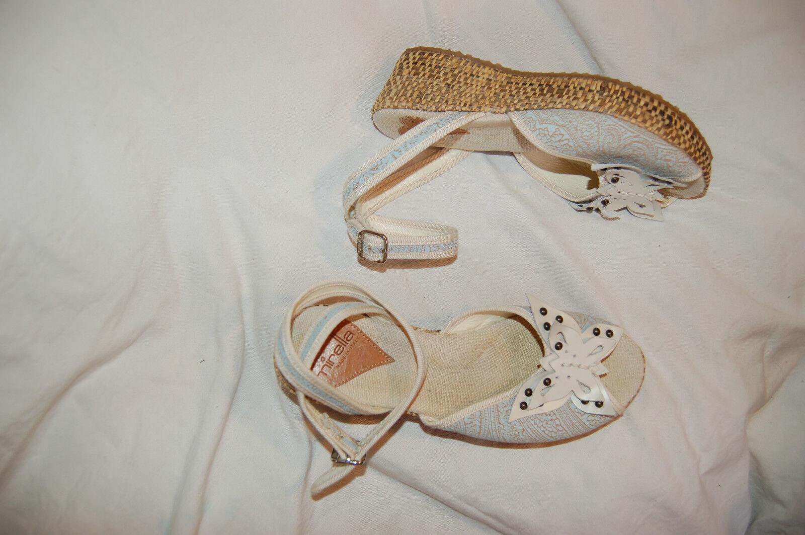 Mirella Canvas/Leder Ankle Wrap Wedge Platform Sandales  Made in  Größe 38