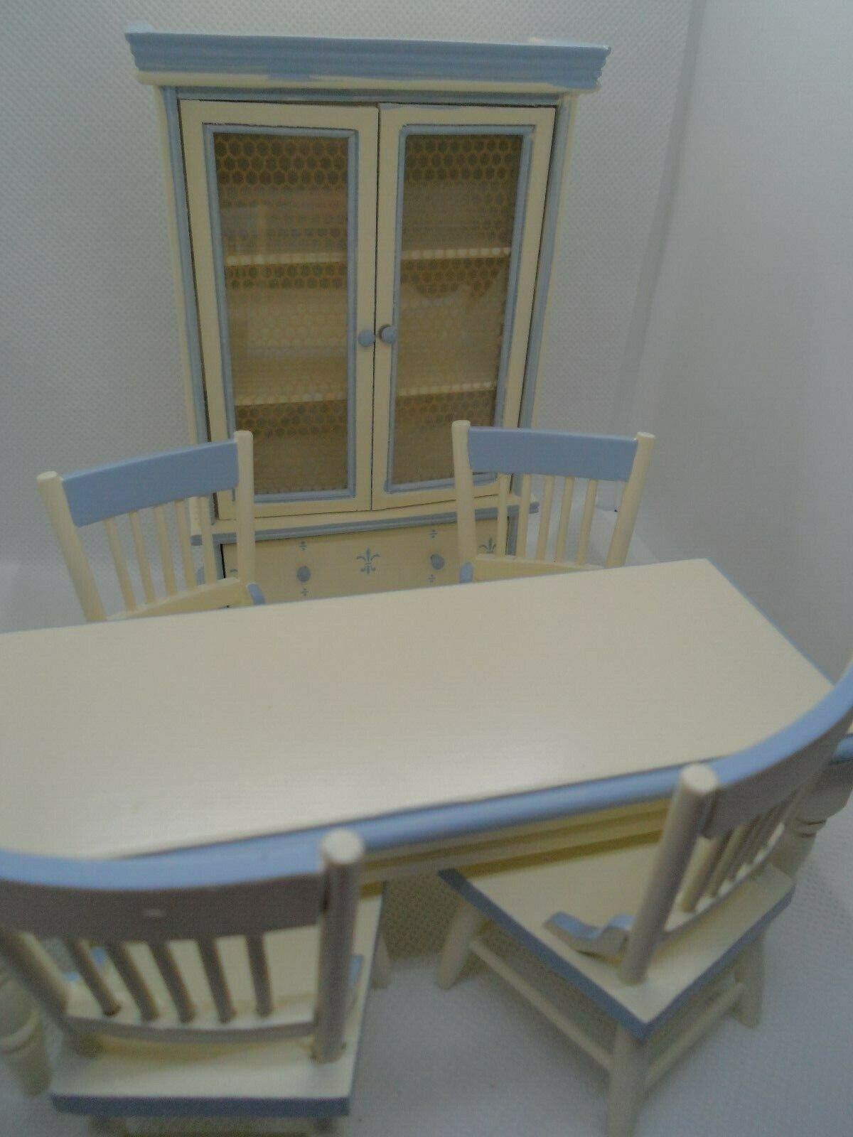 6-teiliges Esszimmer mit Vitrine Creme-Blau 1 12 Puppenhaus Miniatur Puppenstube