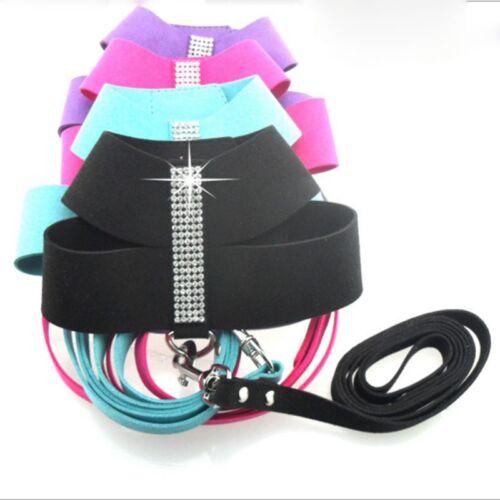 Rhinestone Pet Dog Harness/&Leash SET Puppy Cat Soft Suede Leather Walking Vest