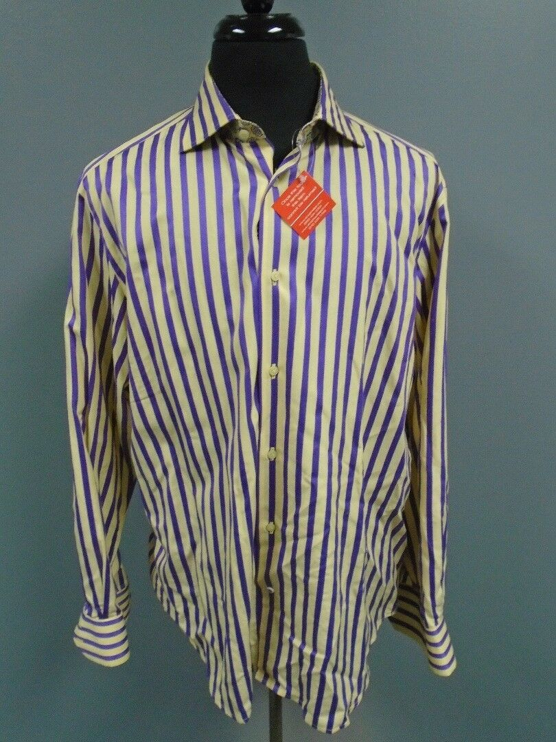 ROBERT GRAHAM Purple Yellow Striped Cotton Button Down Shirt Size L XL DD2897