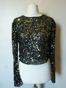 136024268b6 Details about ASOS DESIGN Long Sleeve Sequin Embellishment Top Size 4 or 10  BNWT RRP £38 Black