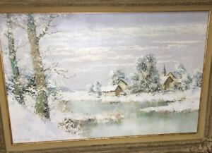 Willi-Bauer-Untitled-Original-Winter-Landscape-Scene-Oil-Painting-on-Canvas