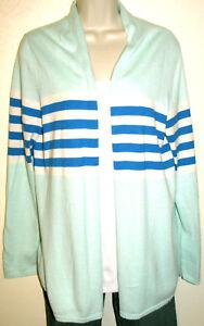 Talbots-Women-039-s-Turquoise-Striped-Cotton-Blend-Open-Cardigan-Sweater-Size-Medium