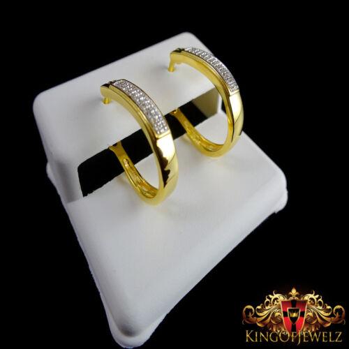 WOMEN/'S GENUINE DIAMOND Y// GOLD PLATTED OVER REAL STERLING SILVER HOOP EARRINGS