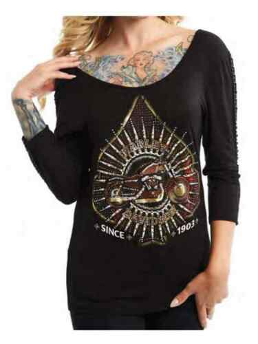 Harley-Davidson Women/'s Embellished Spade 3//4 Sleeve Scoop Neck Shirt Black
