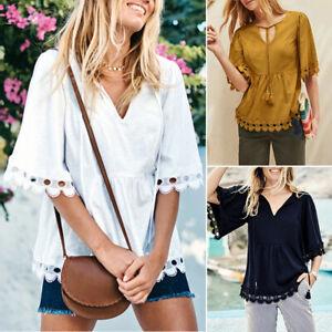 ZANZEA-8-24-Women-Summer-Loose-Crochet-Lace-Top-Tee-T-Shirt-V-Neck-Tie-Up-Blouse