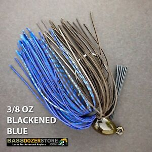 Bassdozer-PUNCH-039-N-FLIP-jig-3-8-oz-BLACKENED-BLUE-weedless-bass-jigs-lures