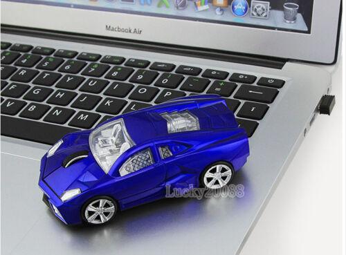 Gift USB Cordless 2.4Ghz Wireless Lamborghini car Mouse Optical Game Mice LED US