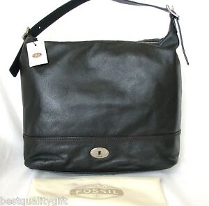 Image Is Loading New Fossil Marlow Black Leather Hobo Purse Shoulder