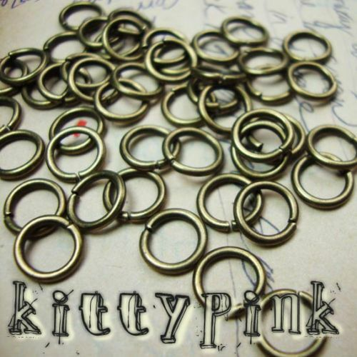 100 8mm antique or jumprings open jump rings