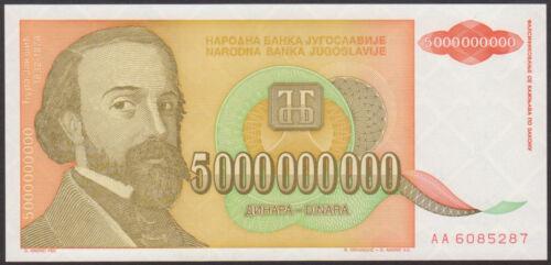 P 135 Prefix AA   Uncirculated Notes YUGOSLAVIA  5,000,000,000  DINARA 1993