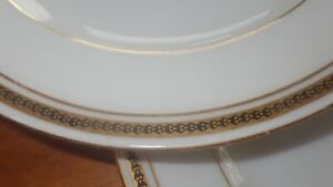 """Imperial Crown China Bread Butter Dessert Plates Gold verge Black Gold trim 4 6"""""""