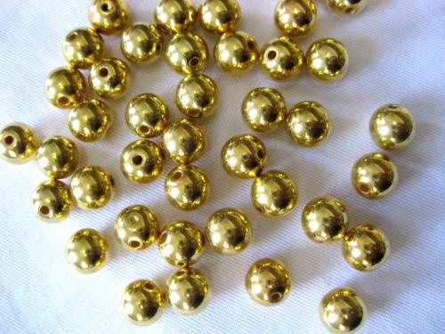 ca.9 mm 50 Acryl-Perlen in gold A7