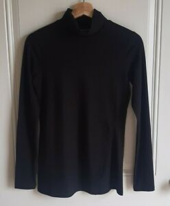 Athleta-Womens-Black-Long-Sleeve-Essence-Ribbed-Turtleneck-Top-Shirt-Tee-Size-XS