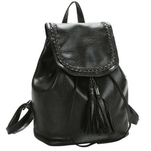Damen Anti-Diebstahl Rucksack Schul Schwarz Handtaschen Umhängetasche Ranzen Bag
