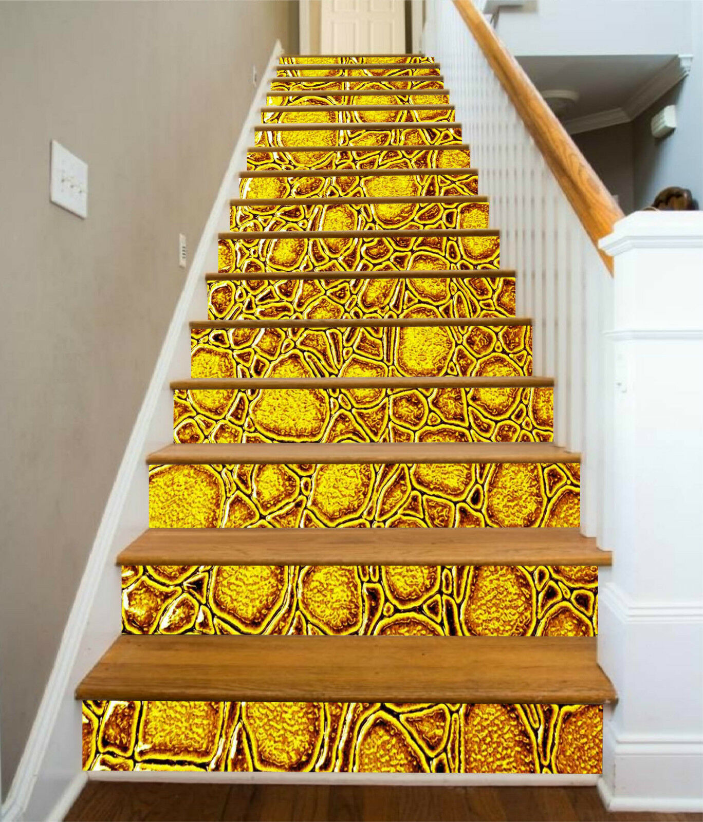 3D Golden Malerei 3 Stair Risers Dekoration Fototapete Vinyl Aufkleber Tapete DE