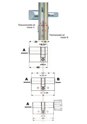 BKS Doppelzylinder mit Drehknauf verschieden schließend Serie PZ 88