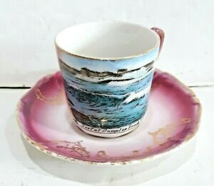 ANTIQUE-SURF-AT-HAMPTON-BEACH-NH-SOUVENIR-DEMITASSE-CUP-amp-SAUCER-MADE-IN-GERMANY