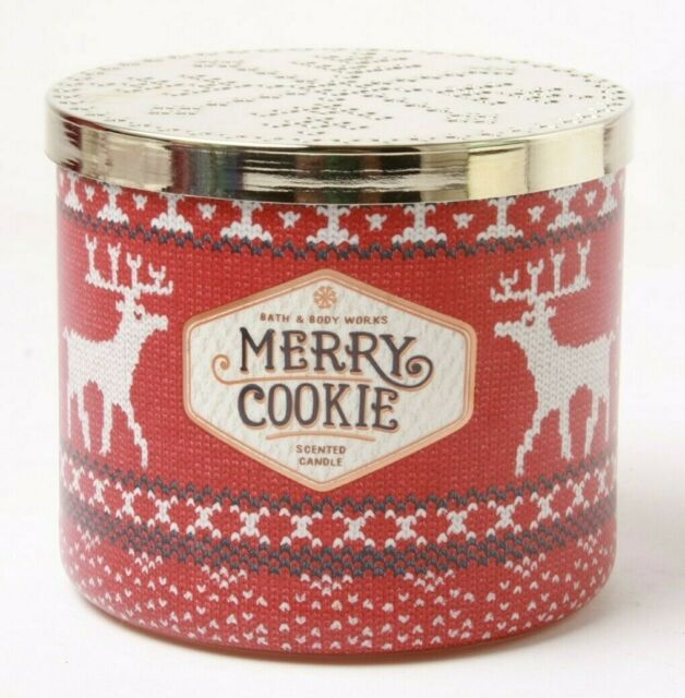 Bath Body Works Candle MERRY COOKIE Scented 3-wick Jars x2 Wax
