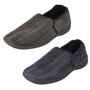 x2034- Herren Textil ohne Bügel Hausschuh Schuhe 2 Farben; navy&black-