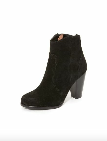 325 Joie Black Suede Leather Heeled Booties Boots 5 35