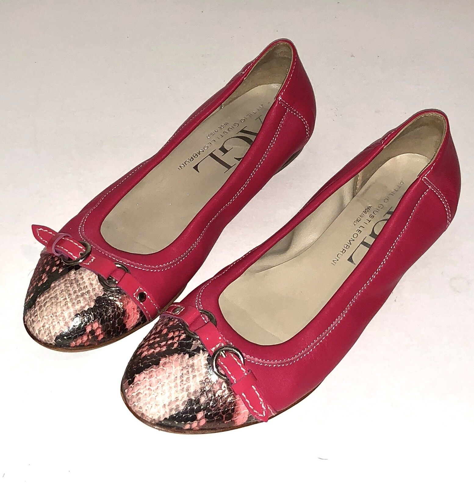 $350 AGL Womens Pink Italy Leather Ballet Flats Snakeskin Cap Toe  37.5 / 7.5 us