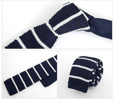 "Men 2"" Knit Knitted Slim Flat Tie Skinny Narrow Necktie Navy Blue White Stripe"