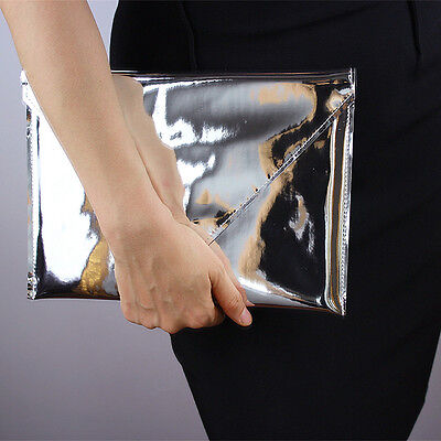 Mirror Silver Metallic pad Case Envelope Clutch Shine Leather PU Purse Pouch Bag