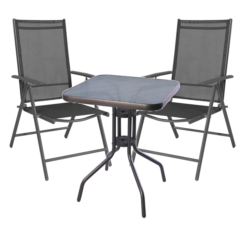 vendita online Mojawo ® 3 3 3 pezzi bistrosat Set da Bistrot Antracite Set da balcone  economico e di alta qualità