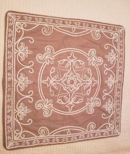 Kim Seybert Tan Ivory Jute Embroidery Pair Of Pillow