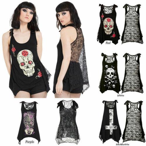 Plus Size S-5XL Punk Rock Death Skull Print Womens Backless Vest Gothic Tank Top